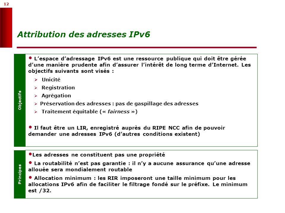 12 Attribution des adresses IPv6 Objectifs Lespace dadressage IPv6 est une ressource publique qui doit être gérée dune manière prudente afin dassurer