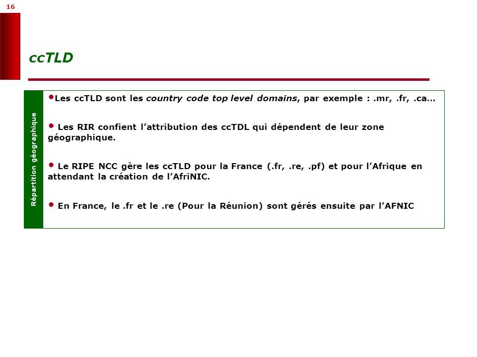 16 ccTLD Répartition géographique Les ccTLD sont les country code top level domains, par exemple :.mr,.fr,.ca… Les RIR confient lattribution des ccTDL