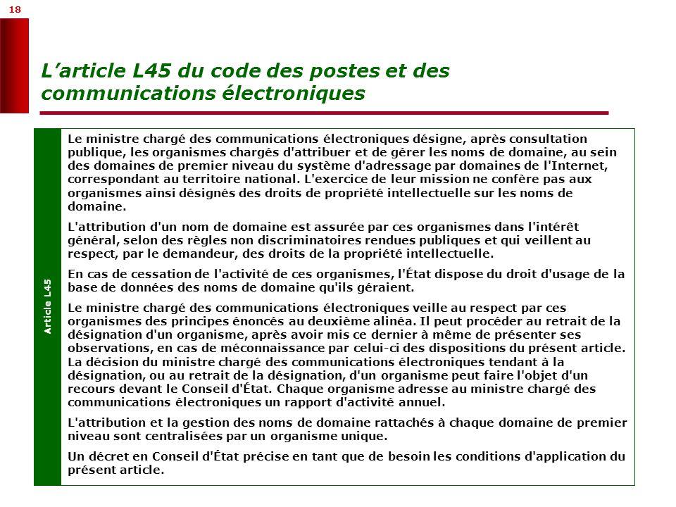 18 Larticle L45 du code des postes et des communications électroniques Article L45 Le ministre chargé des communications électroniques désigne, après