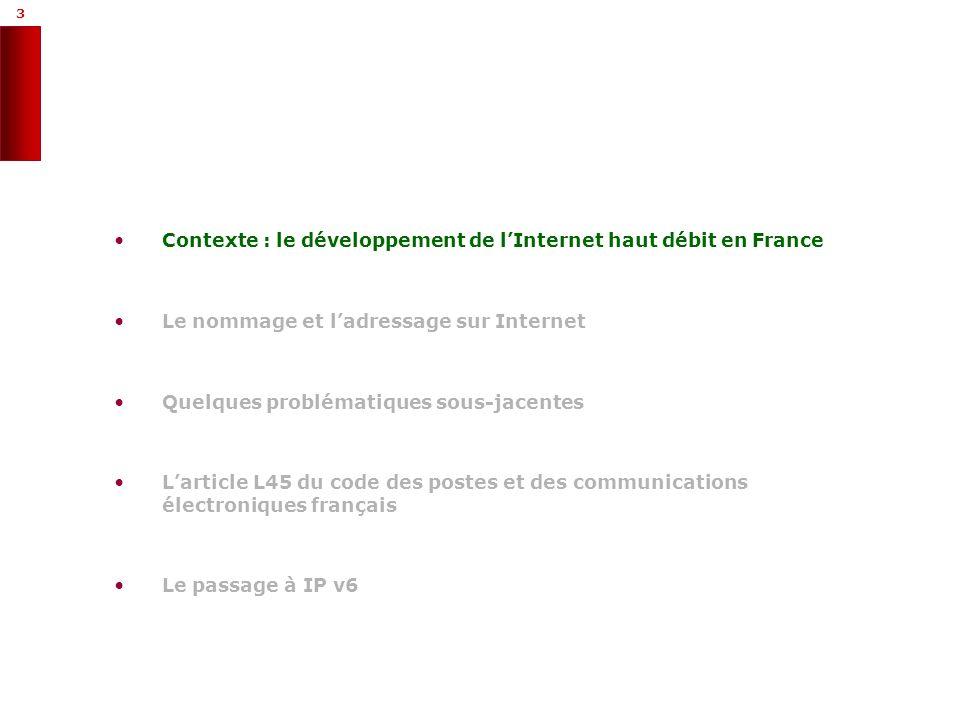 3 3 Contexte : le développement de lInternet haut débit en France Le nommage et ladressage sur Internet Quelques problématiques sous-jacentes Larticle