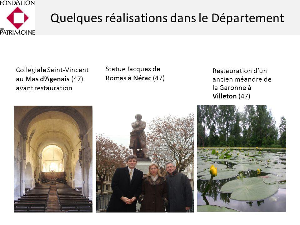 Statue Jacques de Romas à Nérac (47) Collégiale Saint-Vincent au Mas dAgenais (47) avant restauration Restauration dun ancien méandre de la Garonne à Villeton (47) Quelques réalisations dans le Département