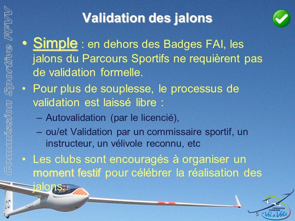 Validation des jalons SimpleSimple : en dehors des Badges FAI, les jalons du Parcours Sportifs ne requièrent pas de validation formelle. Pour plus de