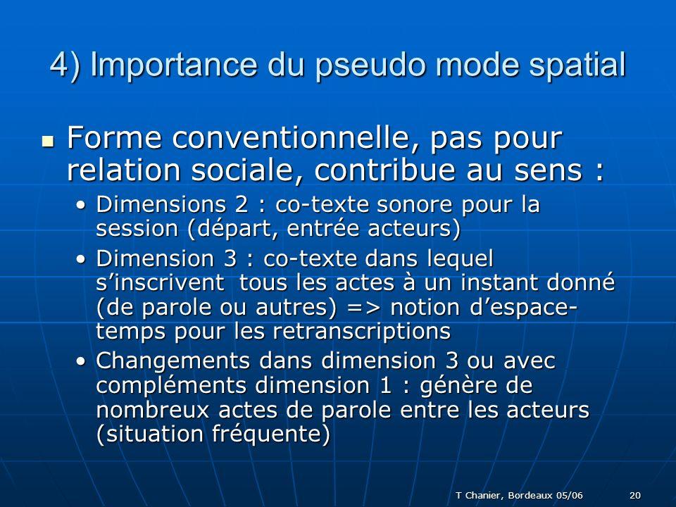 T Chanier, Bordeaux 05/06 20 4) Importance du pseudo mode spatial Forme conventionnelle, pas pour relation sociale, contribue au sens : Forme conventionnelle, pas pour relation sociale, contribue au sens : Dimensions 2 : co-texte sonore pour la session (départ, entrée acteurs)Dimensions 2 : co-texte sonore pour la session (départ, entrée acteurs) Dimension 3 : co-texte dans lequel sinscrivent tous les actes à un instant donné (de parole ou autres) => notion despace- temps pour les retranscriptionsDimension 3 : co-texte dans lequel sinscrivent tous les actes à un instant donné (de parole ou autres) => notion despace- temps pour les retranscriptions Changements dans dimension 3 ou avec compléments dimension 1 : génère de nombreux actes de parole entre les acteurs (situation fréquente)Changements dans dimension 3 ou avec compléments dimension 1 : génère de nombreux actes de parole entre les acteurs (situation fréquente)