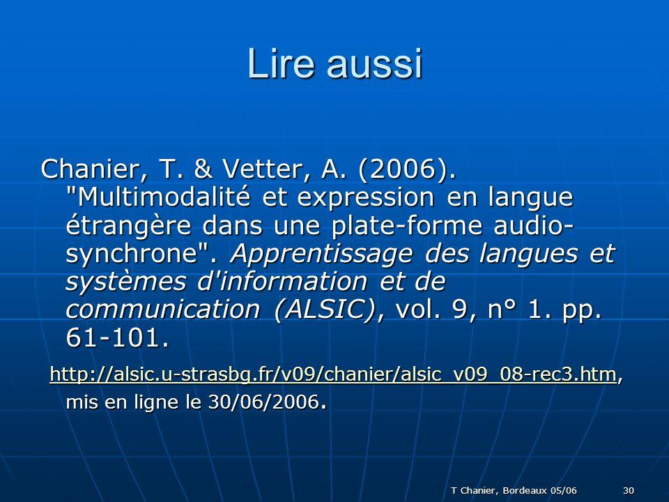 T Chanier, Bordeaux 05/06 30 Lire aussi Chanier, T.
