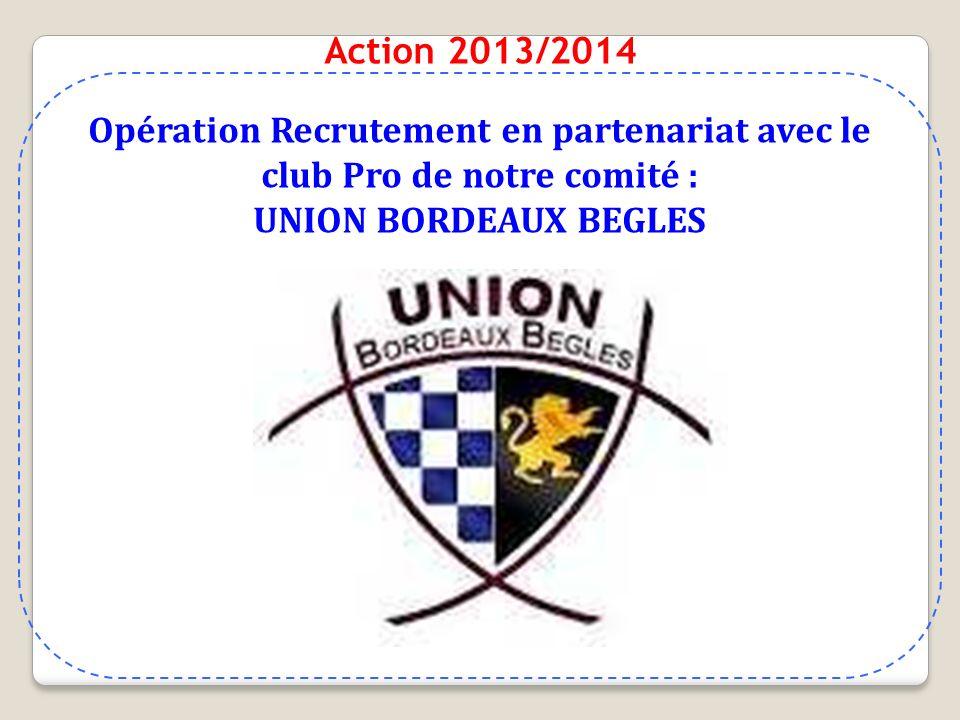 Action 2013/2014 Opération Recrutement en partenariat avec le club Pro de notre comité : UNION BORDEAUX BEGLES