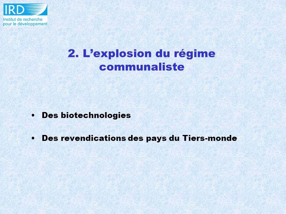 2. Lexplosion du régime communaliste Des biotechnologies Des revendications des pays du Tiers-monde