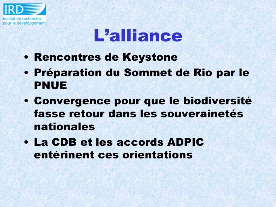 Lalliance Rencontres de Keystone Préparation du Sommet de Rio par le PNUE Convergence pour que le biodiversité fasse retour dans les souverainetés nationales La CDB et les accords ADPIC entérinent ces orientations