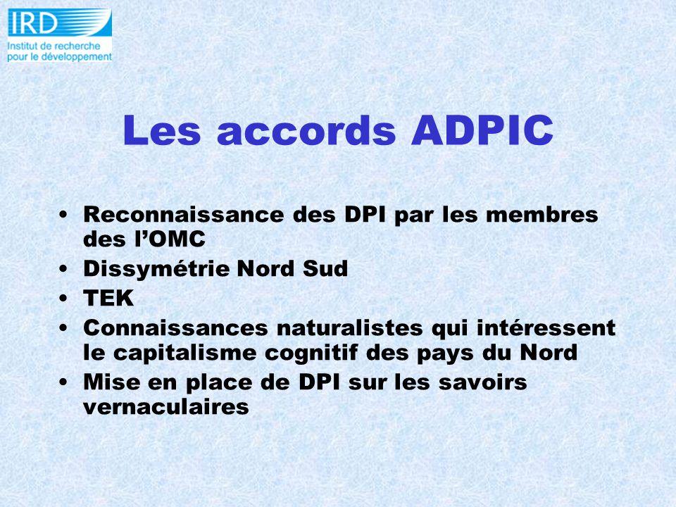 Les accords ADPIC Reconnaissance des DPI par les membres des lOMC Dissymétrie Nord Sud TEK Connaissances naturalistes qui intéressent le capitalisme cognitif des pays du Nord Mise en place de DPI sur les savoirs vernaculaires