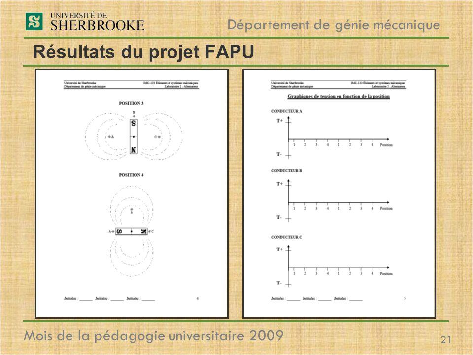 21 Département de génie mécanique Mois de la pédagogie universitaire 2009 Résultats du projet FAPU