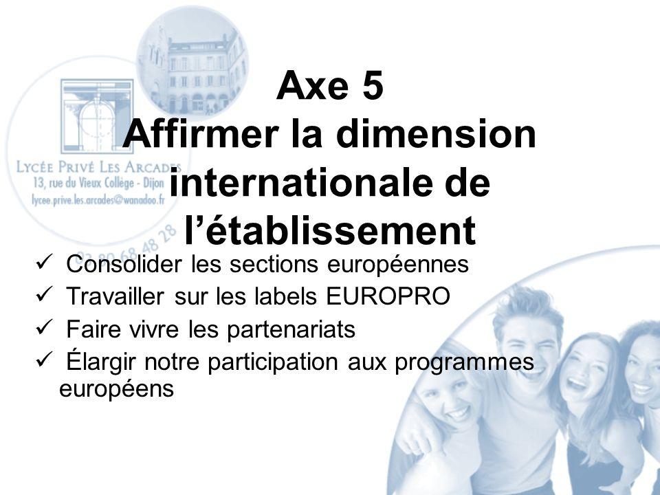 Axe 5 Affirmer la dimension internationale de létablissement Consolider les sections européennes Travailler sur les labels EUROPRO Faire vivre les partenariats Élargir notre participation aux programmes européens