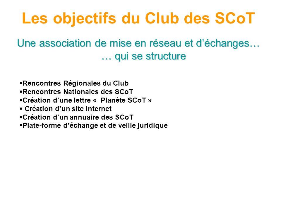 Les objectifs du Club des SCoT Une association de mise en réseau et déchanges… … qui se structure Rencontres Régionales du Club Rencontres Nationales