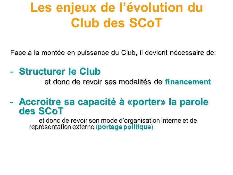 Les enjeux de lévolution du Club des SCoT Face à la montée en puissance du Club, il devient nécessaire de: -Structurer le Club et donc de revoir ses m