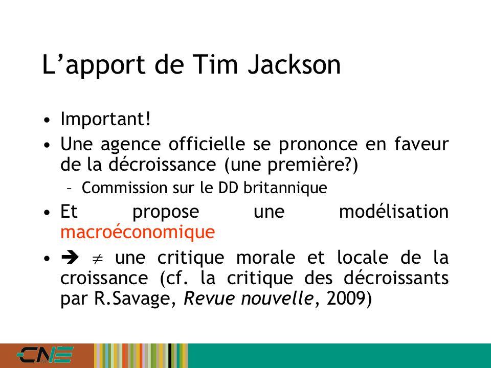 Lapport de Tim Jackson Important.