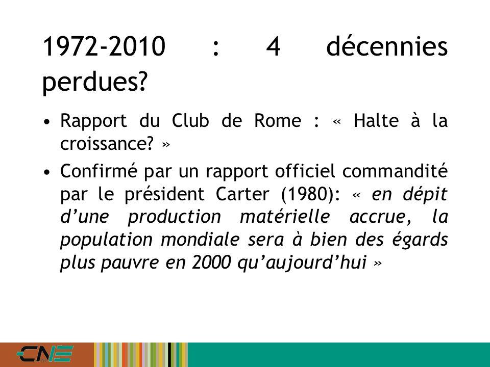 1972-2010 : 4 décennies perdues. Rapport du Club de Rome : « Halte à la croissance.