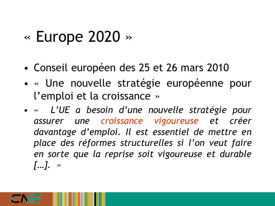 « Europe 2020 » Conseil européen des 25 et 26 mars 2010 « Une nouvelle stratégie européenne pour lemploi et la croissance » « LUE a besoin dune nouvelle stratégie pour assurer une croissance vigoureuse et créer davantage demploi.