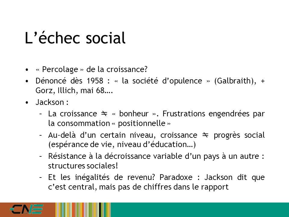 Léchec social « Percolage » de la croissance.