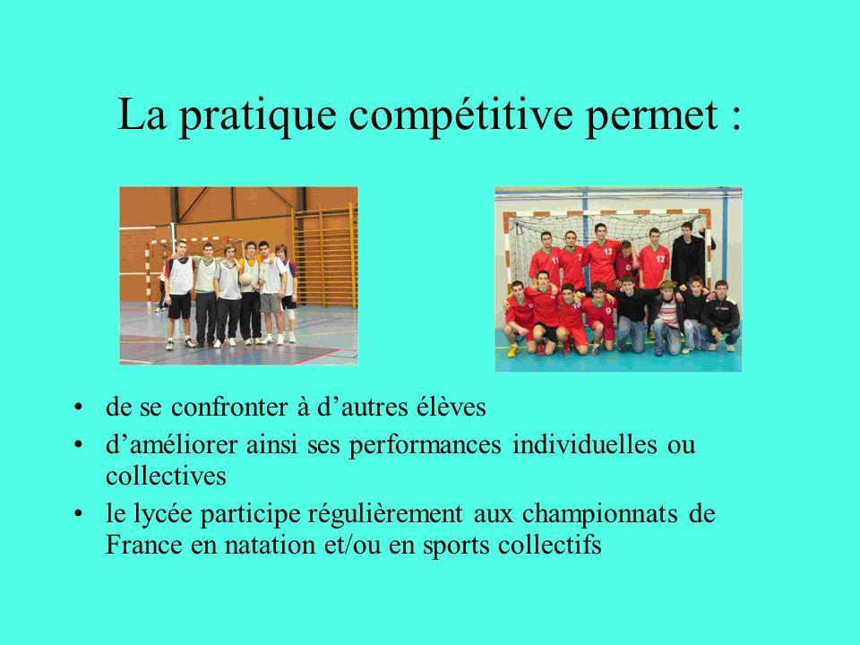 La pratique compétitive permet : de se confronter à dautres élèves daméliorer ainsi ses performances individuelles ou collectives le lycée participe régulièrement aux championnats de France en natation et/ou en sports collectifs