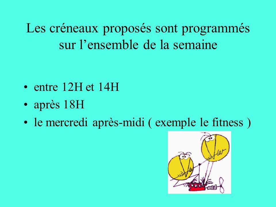 Les créneaux proposés sont programmés sur lensemble de la semaine entre 12H et 14H après 18H le mercredi après-midi ( exemple le fitness )