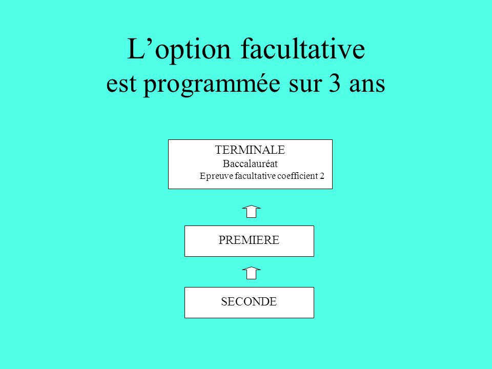 Loption facultative est programmée sur 3 ans SECONDE PREMIERE TERMINALE Baccalauréat Epreuve facultative coefficient 2