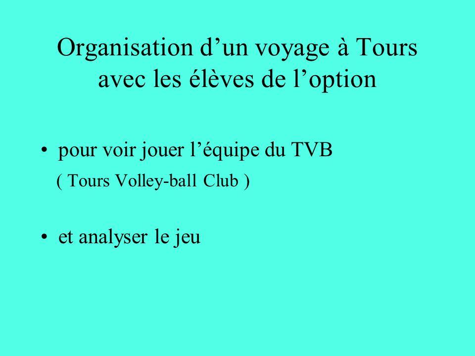 Organisation dun voyage à Tours avec les élèves de loption pour voir jouer léquipe du TVB ( Tours Volley-ball Club ) et analyser le jeu
