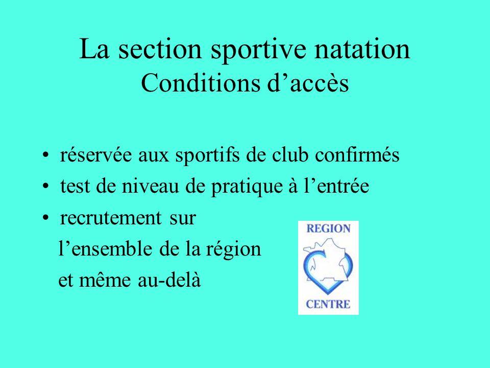 La section sportive natation Conditions daccès réservée aux sportifs de club confirmés test de niveau de pratique à lentrée recrutement sur lensemble de la région et même au-delà