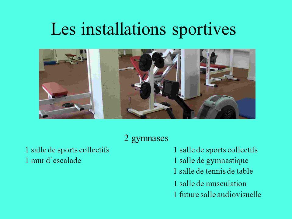 Les installations sportives 2 gymnases 1 salle de sports collectifs 1 mur descalade 1 salle de gymnastique 1 salle de tennis de table 1 salle de musculation 1 future salle audiovisuelle