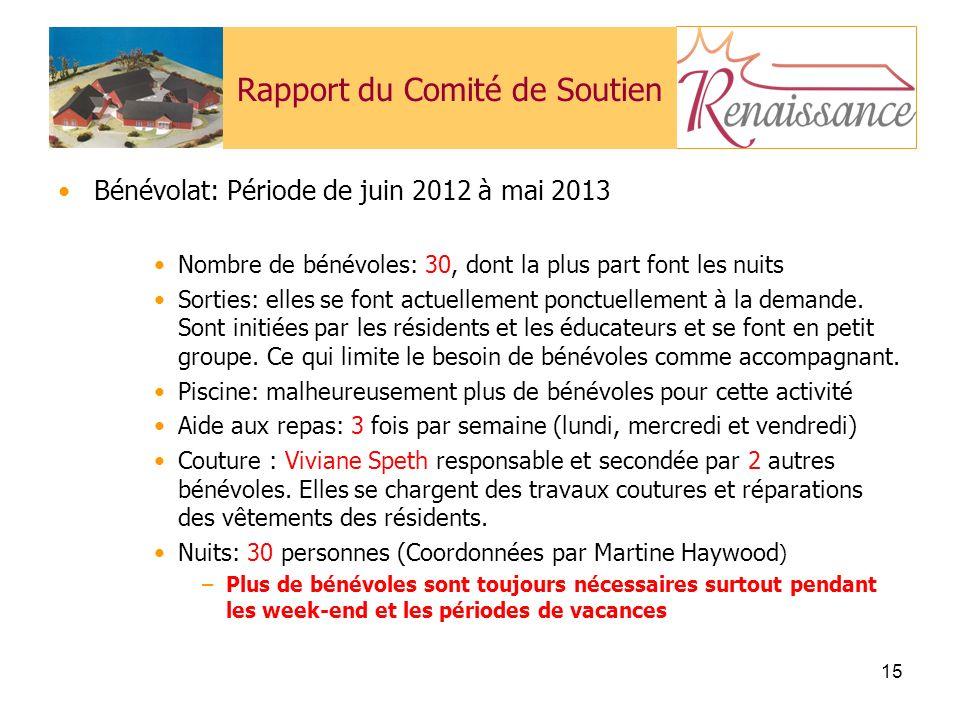 15 Rapport du Comité de Soutien Bénévolat: Période de juin 2012 à mai 2013 Nombre de bénévoles: 30, dont la plus part font les nuits Sorties: elles se font actuellement ponctuellement à la demande.
