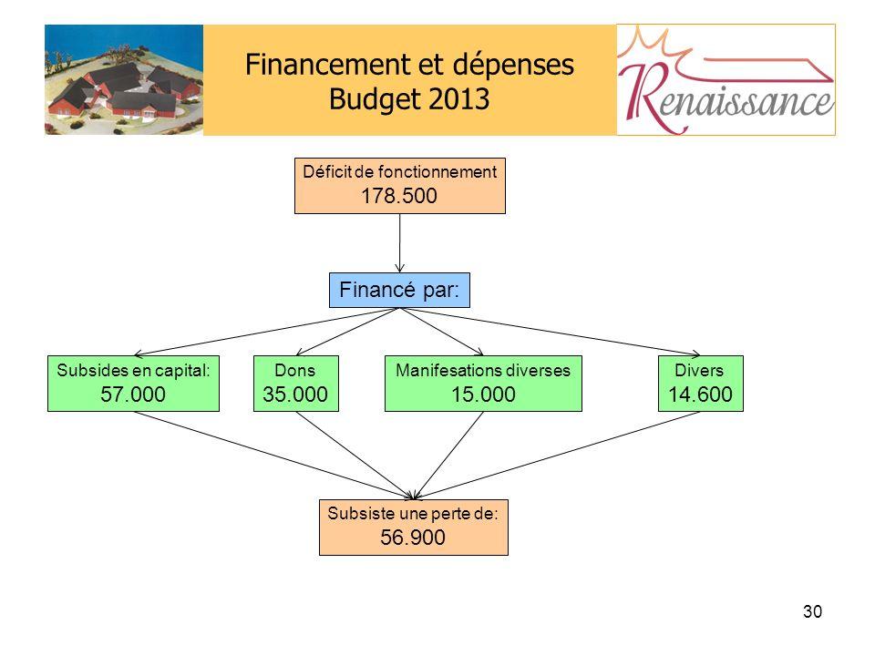 Financement et dépenses Budget 2013 30 Déficit de fonctionnement 178.500 Financé par: Subsides en capital: 57.000 Dons 35.000 Manifesations diverses 15.000 Divers 14.600 Subsiste une perte de: 56.900