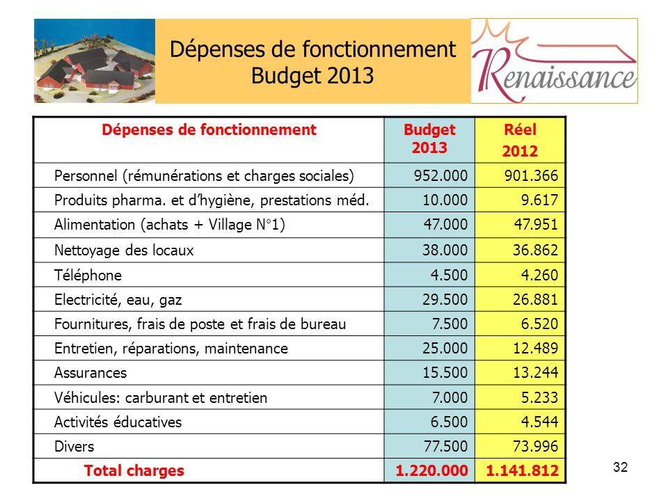 32 Dépenses de fonctionnement Budget 2013 Dépenses de fonctionnementBudget 2013 Réel 2012 Personnel (rémunérations et charges sociales)952.000901.366 Produits pharma.