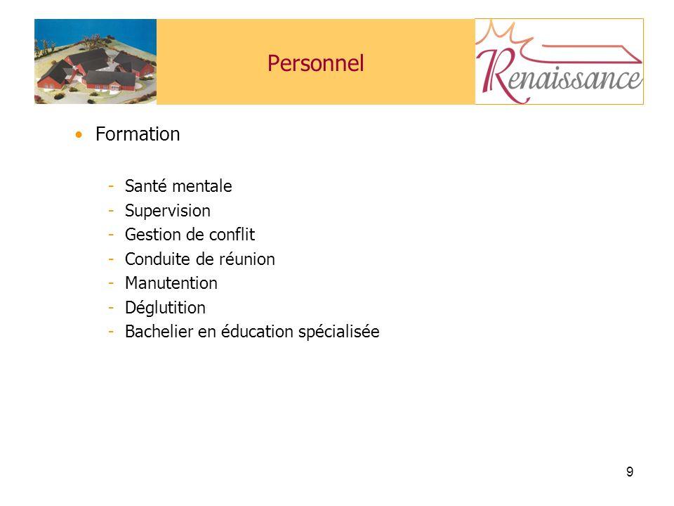 9 Personnel Formation -Santé mentale -Supervision -Gestion de conflit -Conduite de réunion -Manutention -Déglutition -Bachelier en éducation spécialisée
