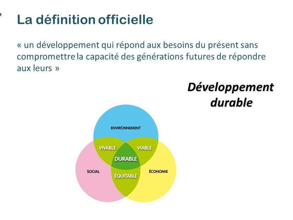 Développementdurable La définition officielle « un développement qui répond aux besoins du présent sans compromettre la capacité des générations futures de répondre aux leurs »