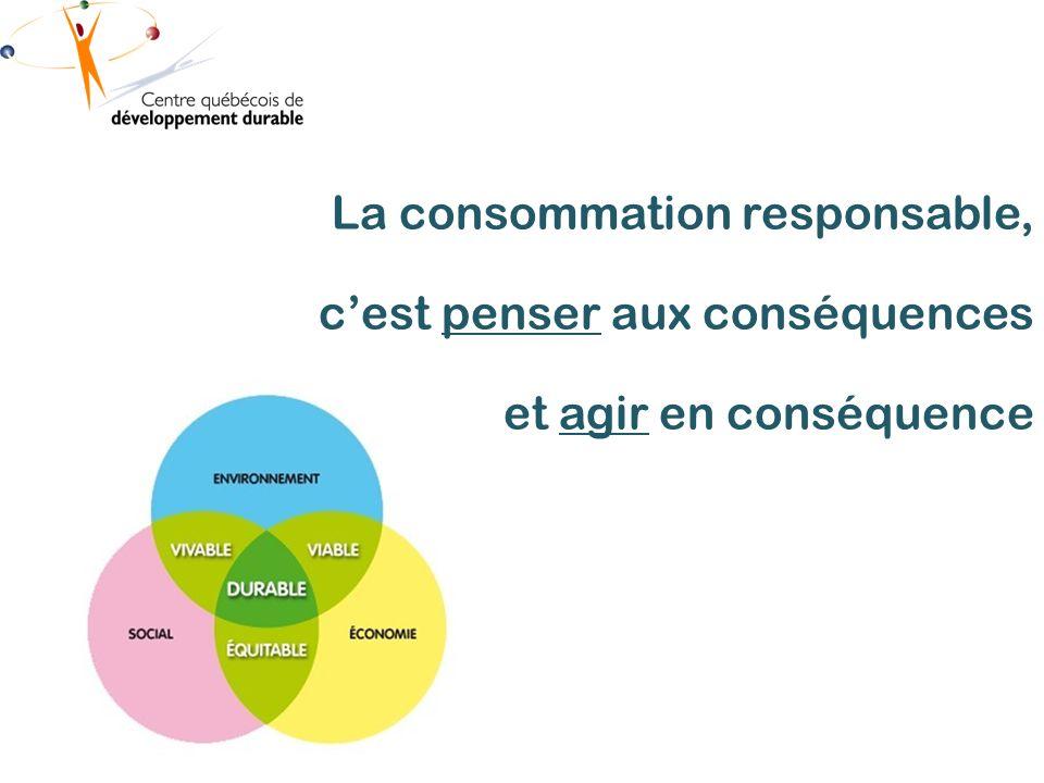 La consommation responsable, cest penser aux conséquences et agir en conséquence