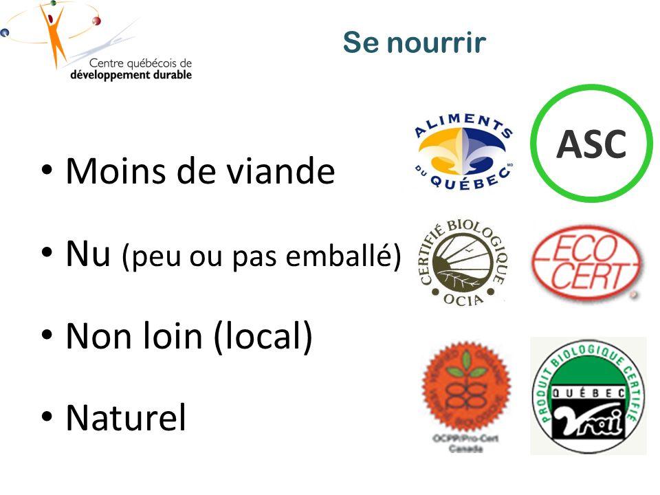 Se nourrir Moins de viande Nu (peu ou pas emballé) Non loin (local) Naturel ASC