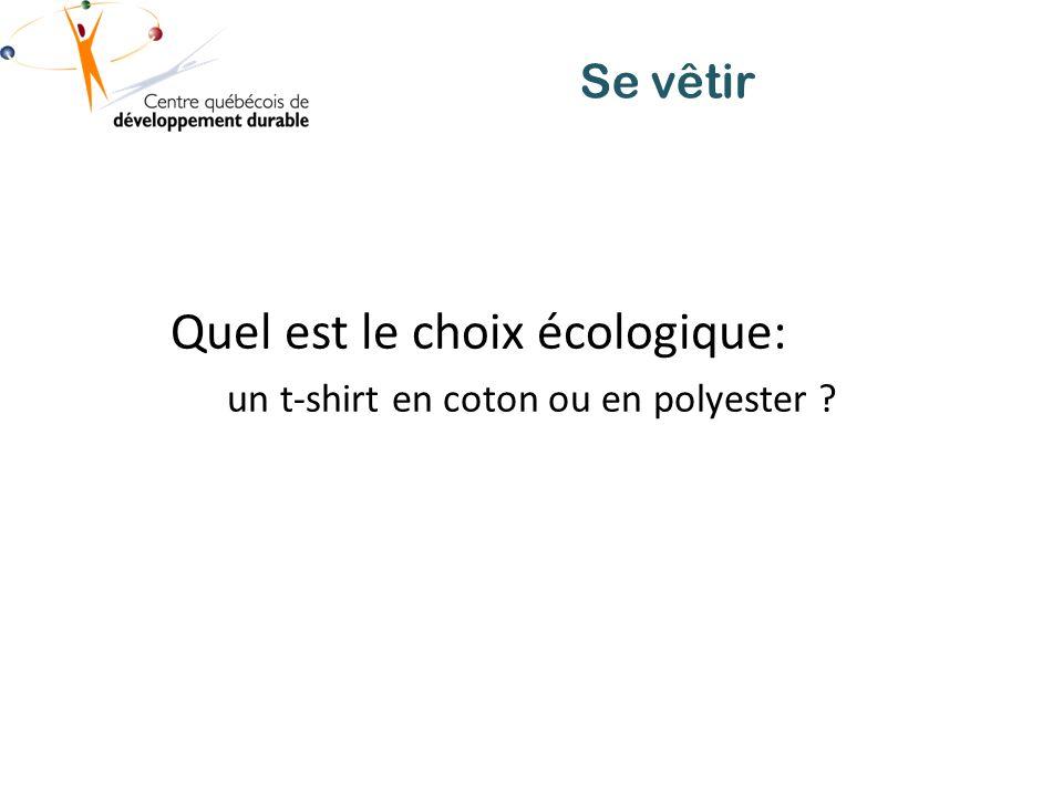 Se vêtir Quel est le choix écologique: un t-shirt en coton ou en polyester ?