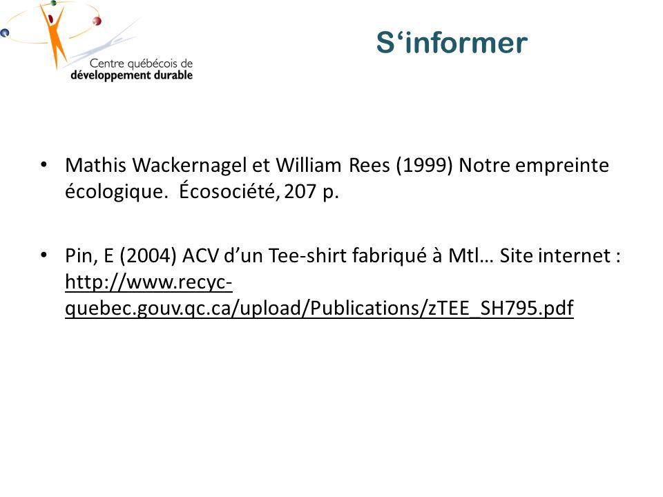 Sinformer Mathis Wackernagel et William Rees (1999) Notre empreinte écologique.