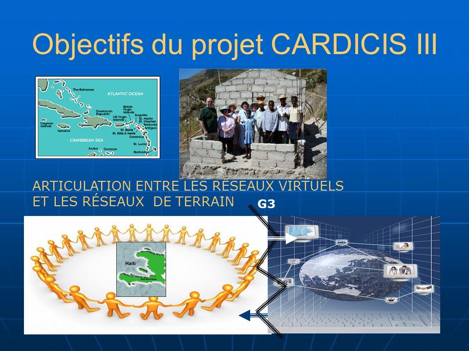 Objectifs du projet CARDICIS III ARTICULATION ENTRE LES RËSEAUX VIRTUELS ET LES RÉSEAUX DE TERRAIN G3