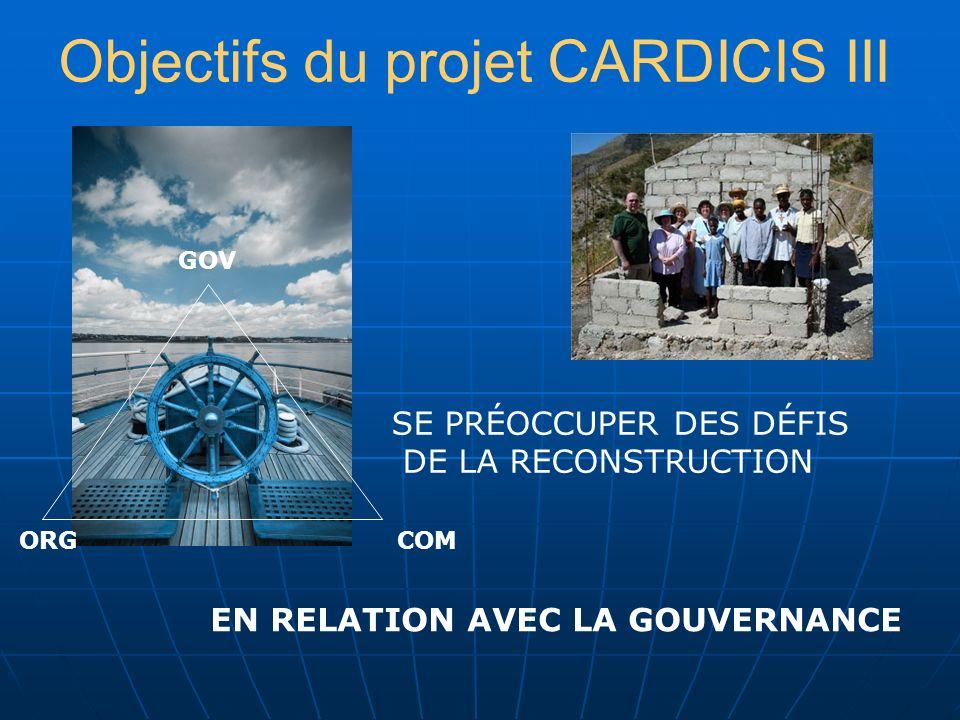 Objectifs du projet CARDICIS III SE PRÉOCCUPER DES DÉFIS DE LA RECONSTRUCTION EN RELATION AVEC LA GOUVERNANCE GOV COMORG