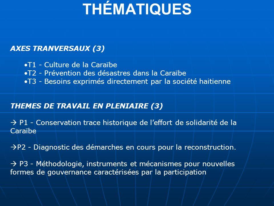 THÉMATIQUES AXES TRANVERSAUX (3) T1 - Culture de la Caraïbe T2 - Prévention des désastres dans la Caraïbe T3 - Besoins exprimés directement par la société haitienne THEMES DE TRAVAIL EN PLENIAIRE (3) P1 - Conservation trace historique de leffort de solidarité de la Caraïbe P2 - Diagnostic des démarches en cours pour la reconstruction.