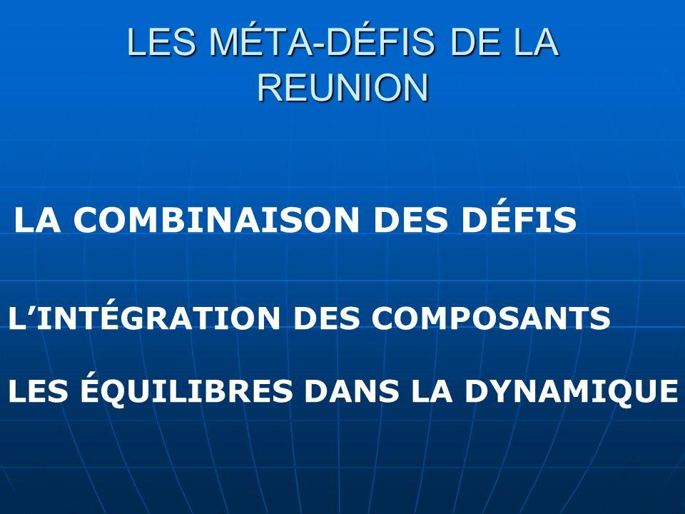 LES MÉTA-DÉFIS DE LA REUNION LA COMBINAISON DES DÉFIS LINTÉGRATION DES COMPOSANTS LES ÉQUILIBRES DANS LA DYNAMIQUE