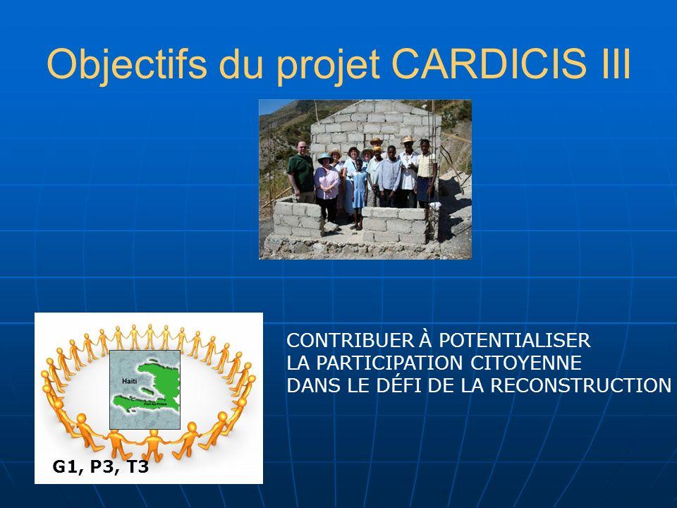 Objectifs du projet CARDICIS III CONTRIBUER À POTENTIALISER LA PARTICIPATION CITOYENNE DANS LE DÉFI DE LA RECONSTRUCTION G1, P3, T3