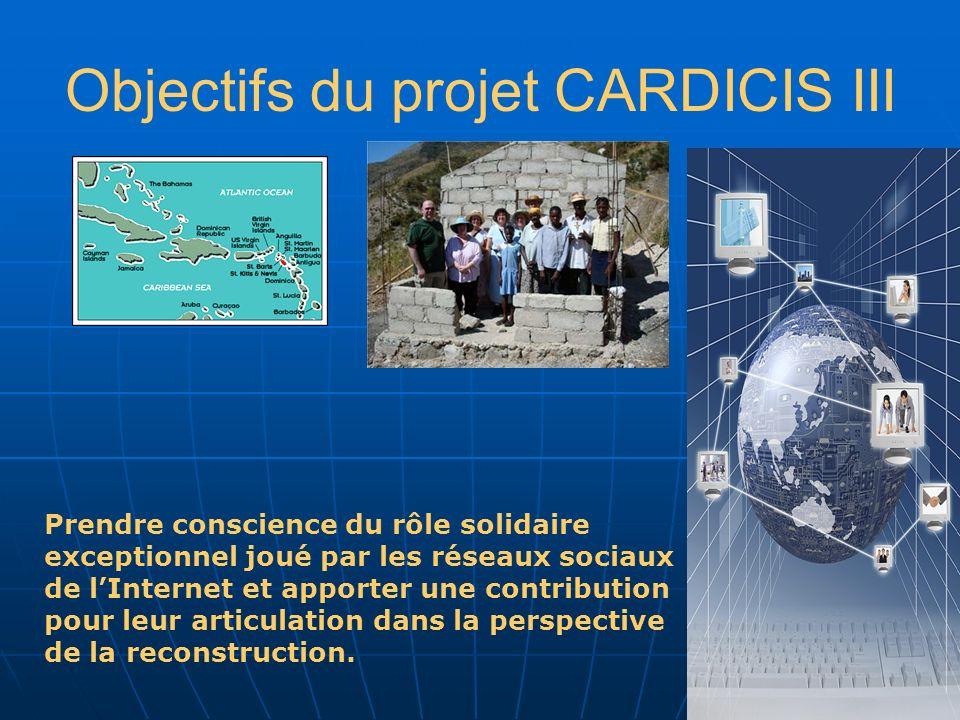 Objectifs du projet CARDICIS III Prendre conscience du rôle solidaire exceptionnel joué par les réseaux sociaux de lInternet et apporter une contribution pour leur articulation dans la perspective de la reconstruction.