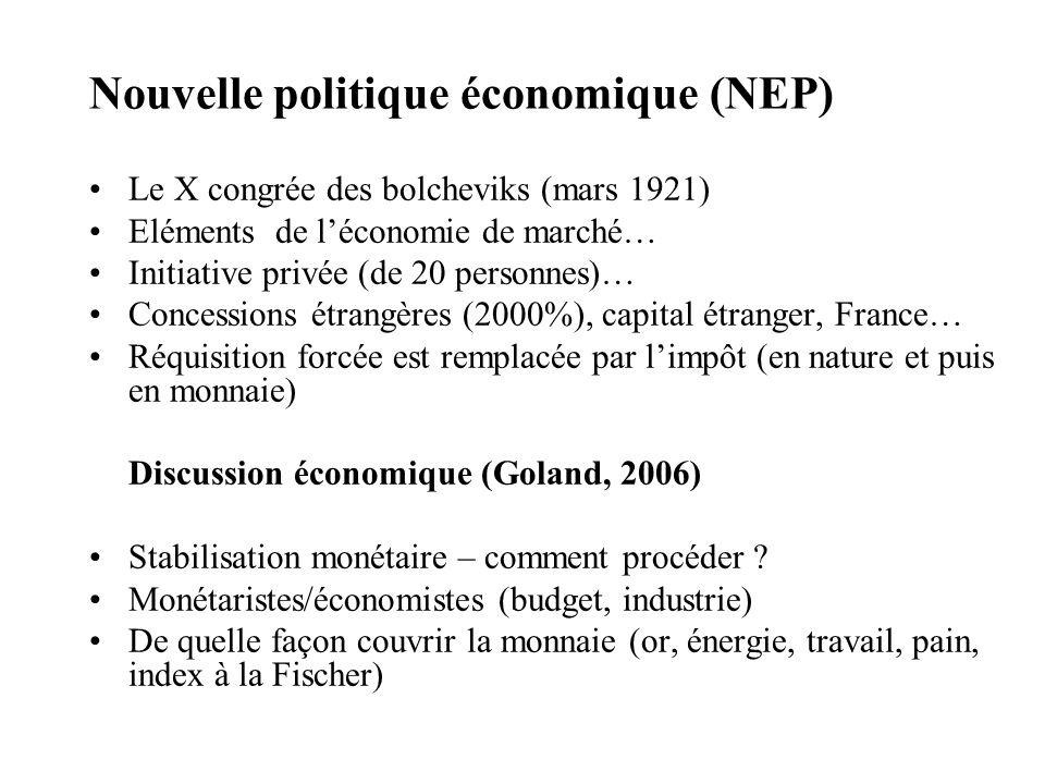 Nouvelle politique économique (NEP) Le X congrée des bolcheviks (mars 1921) Eléments de léconomie de marché… Initiative privée (de 20 personnes)… Conc