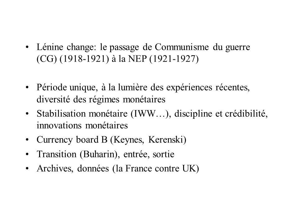 Lénine change: le passage de Communisme du guerre (CG) (1918-1921) à la NEP (1921-1927) Période unique, à la lumière des expériences récentes, diversi
