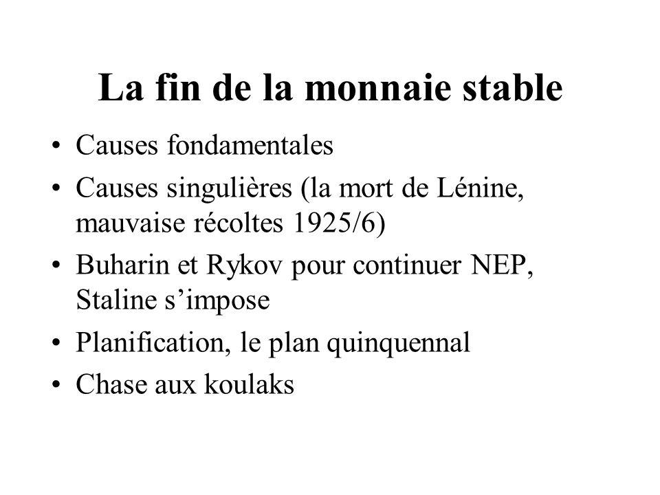 La fin de la monnaie stable Causes fondamentales Causes singulières (la mort de Lénine, mauvaise récoltes 1925/6) Buharin et Rykov pour continuer NEP,