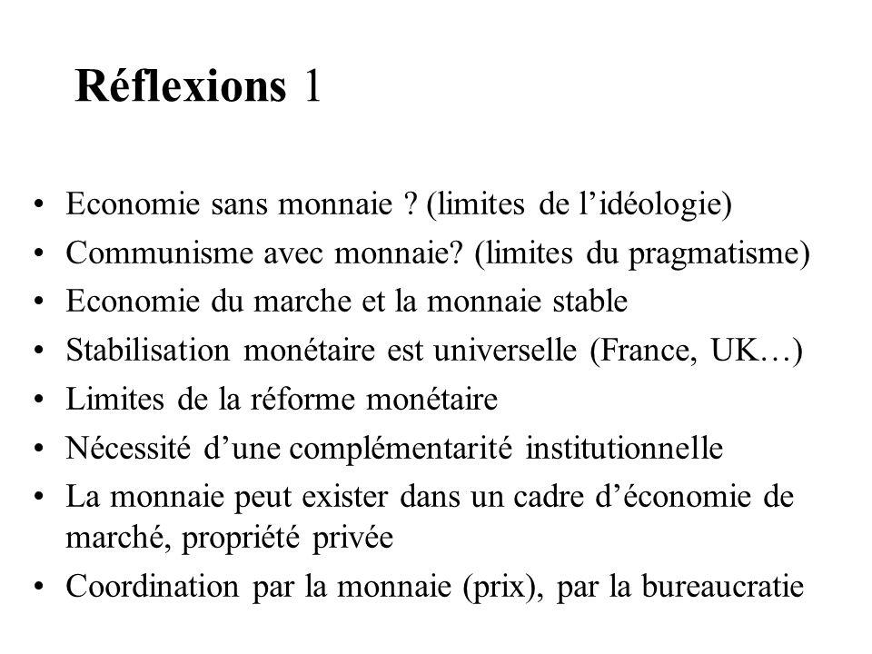 Réflexions 1 Economie sans monnaie ? (limites de lidéologie) Communisme avec monnaie? (limites du pragmatisme) Economie du marche et la monnaie stable