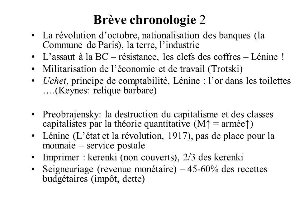 Brève chronologie 2 La révolution doctobre, nationalisation des banques (la Commune de Paris), la terre, lindustrie Lassaut à la BC – résistance, les