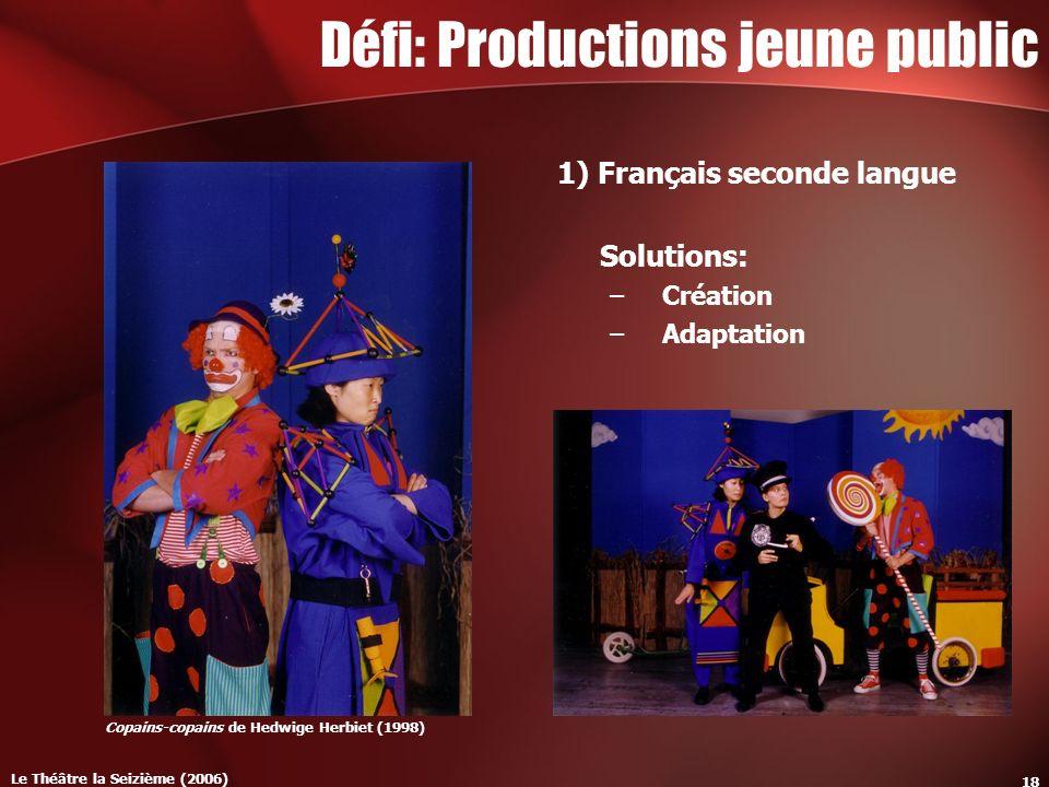 Le Théâtre la Seizième (2006) 18 Défi: Productions jeune public 1) Français seconde langue Solutions: –Création –Adaptation Copains-copains de Hedwige Herbiet (1998)