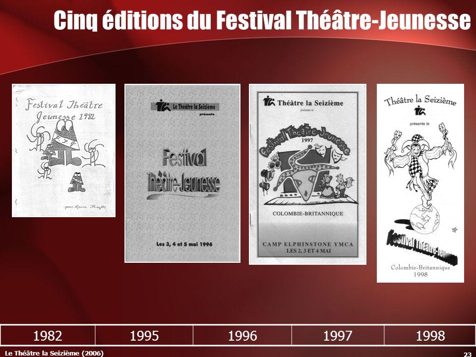 Le Théâtre la Seizième (2006) 23 Cinq éditions du Festival Théâtre-Jeunesse 19821995199619971998