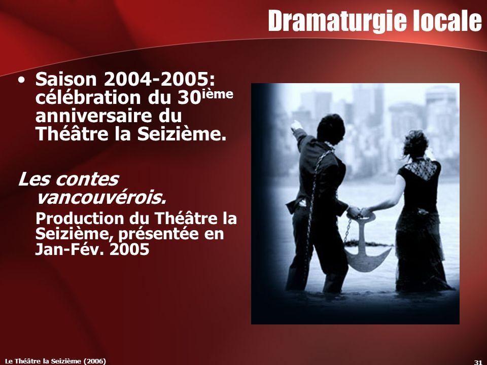 Le Théâtre la Seizième (2006) 31 Dramaturgie locale Saison 2004-2005: célébration du 30 ième anniversaire du Théâtre la Seizième.