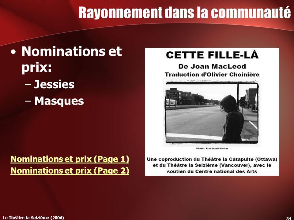 Le Théâtre la Seizième (2006) 34 Rayonnement dans la communauté Nominations et prix: –Jessies –Masques Nominations et prix (Page 1) Nominations et prix (Page 2)